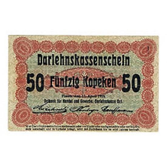 1916 -   Germany  PIC  R121         50 Kopeken VF  banknote