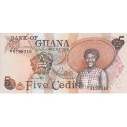 1977- Ghana Pic 15b 5 Cedis  banknote  1/1977