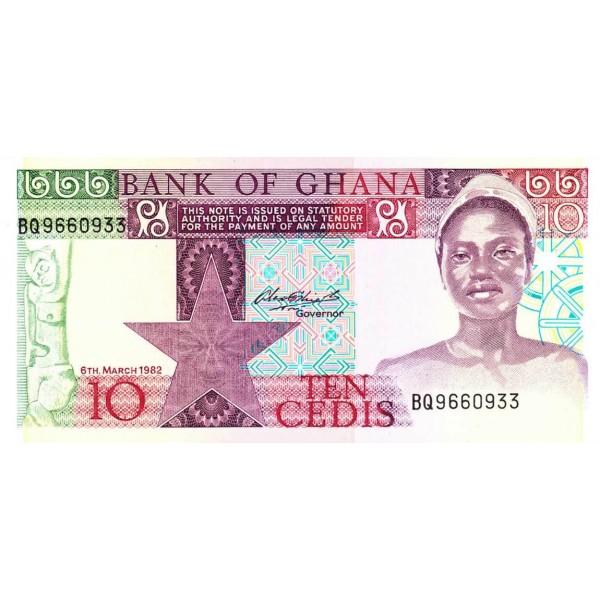 1982 - Ghana Pic 20d 10 Cedis  banknote