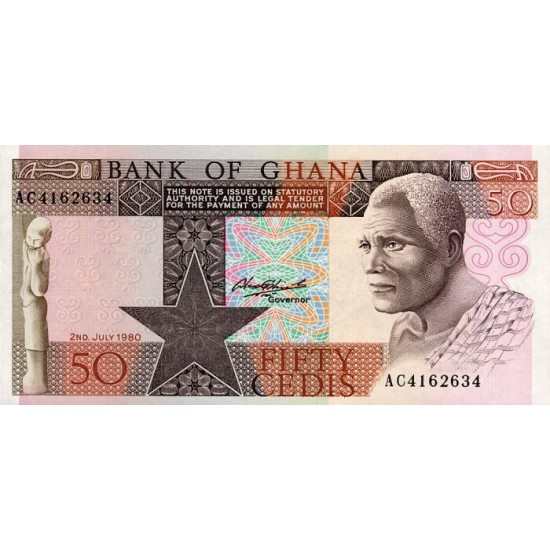 1980 - Ghana Pic 22b 50 Cedis  banknote