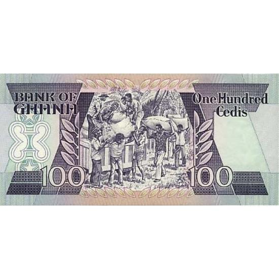 1986- Ghana Pic 26a 100 Cedis  banknote