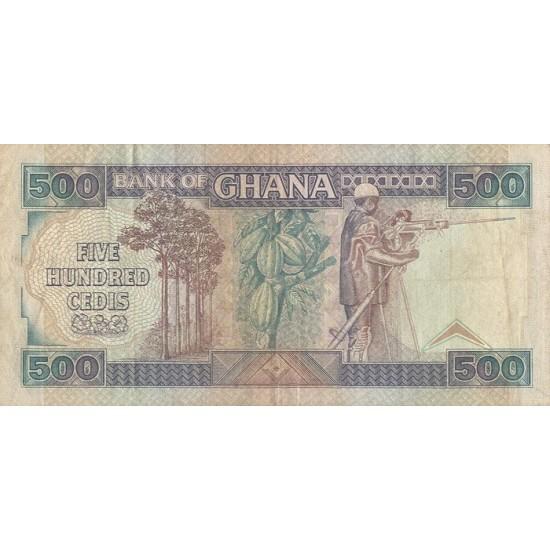 1986- Ghana Pic 28a 500 Cedis  banknote