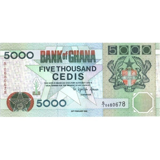 1996- Ghana Pic 31c 5000 Cedis  banknote