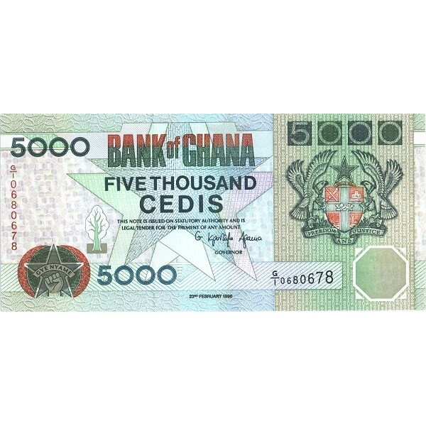 1996- Ghana pic 31c billete 5000 Cedis