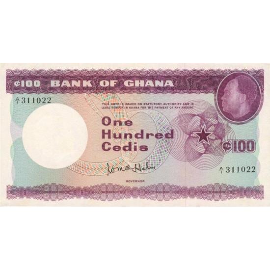 1965- Ghana Pic 9a 100 Cedis  banknote