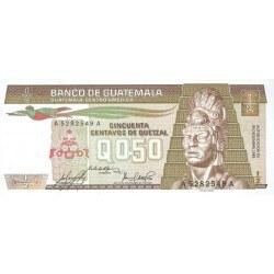 1982 - Guatemala P58c 1/2 Quetzal banknote