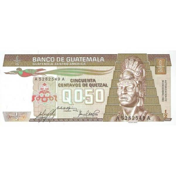 1982 - Guatemala P58c Billete de 1/2 Quetzal