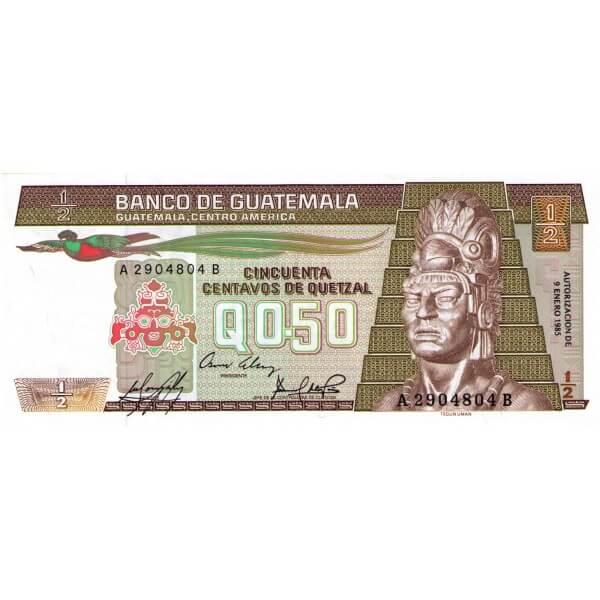 1985 - Guatemala P65 Billete de 1/2 Quetzal