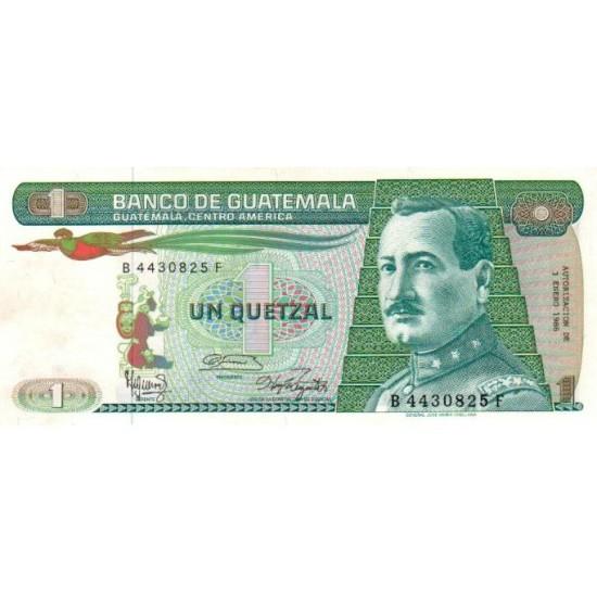 1987 - Guatemala P66 1 Quetzal banknote