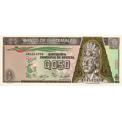 1989 - Guatemala P72 1/2 Quetzal   banknote