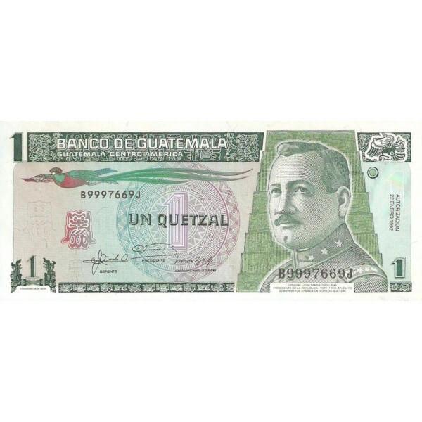 1992/febrero - Guatemala P73d billete de 1 Quetzal