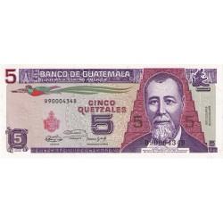 1991 - Guatemala P74b 5 Quetzales banknote