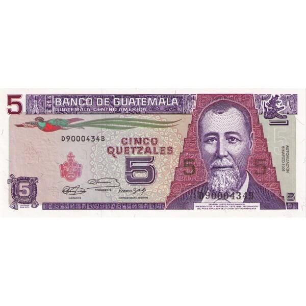 1991 - Guatemala P74b billete de 5 Quetzales