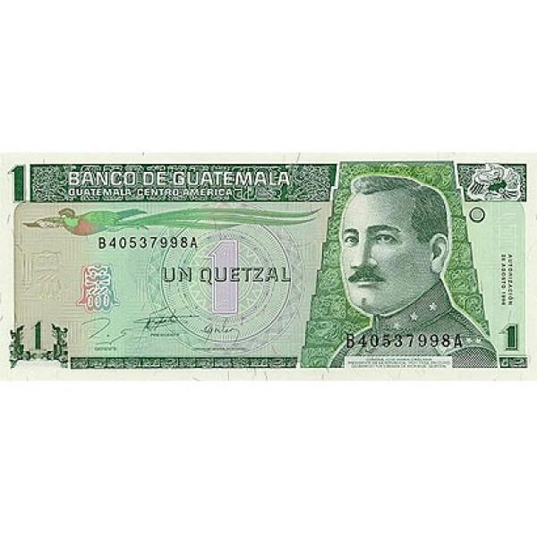 1996 - Guatemala P97 1 Quetzal banknote