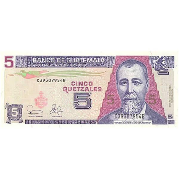 2003 - Guatemala P106a billete de 5 Quetzales