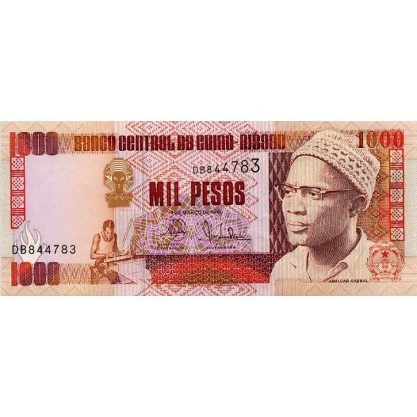 1990- Guinea Bissau Pic 13a 1000 Pesos  banknote