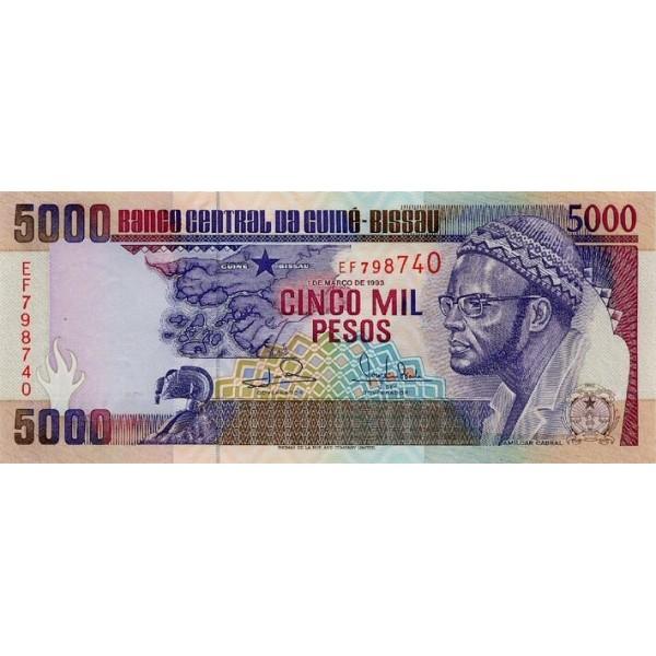 1993- Guinea Bissau Pic 14b 5000 Pesos  banknote