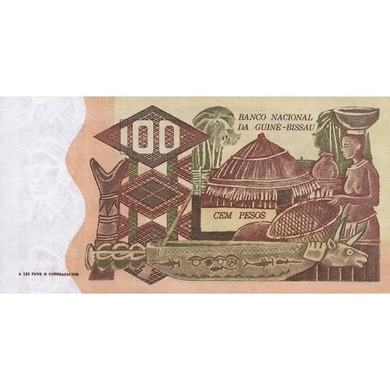 1975- Guinea Bissau Pic 2 100 Pesos  banknote