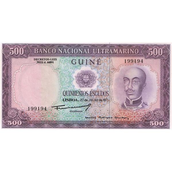 1971- Portuguese Guinea pic 46  500 Escudos banknote
