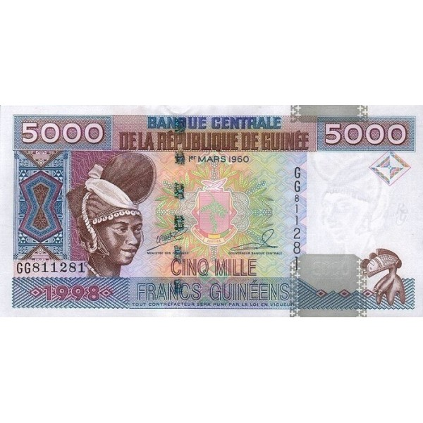 1998- Guinea  pic 370   100 Francs banknote