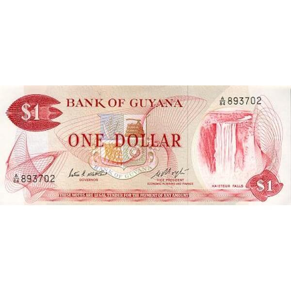 1966/1992 - Guyana P21c billete de 1 Dólar