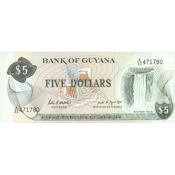 1989 - Guyana P22e 5 Dollars  banknote  F.7