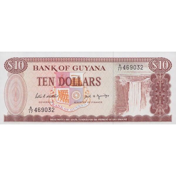 1989 - Guyana P23d billete de 10 Dólares