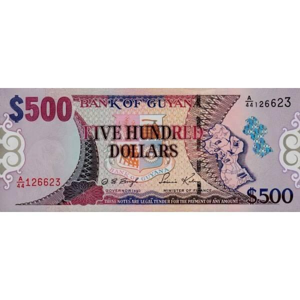 2002 - Guyana P34b 500 Dollars banknote