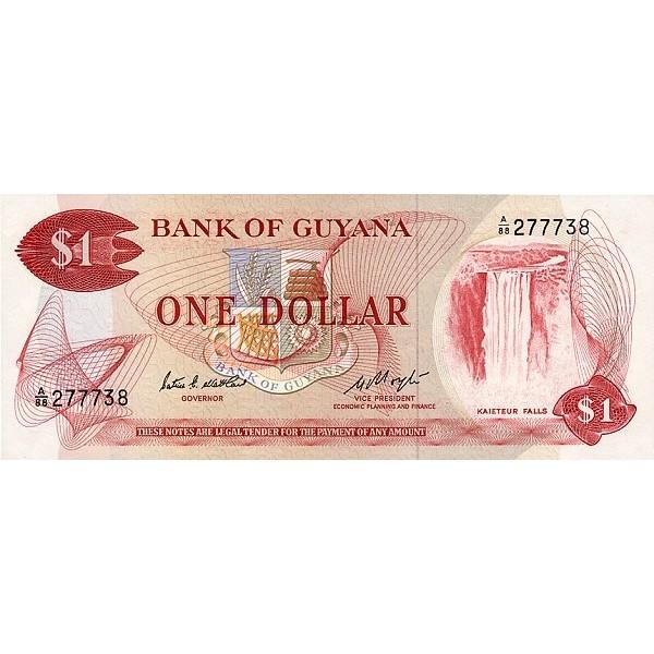 1989 - Guyana P21e billete de 1 Dólar  F.7