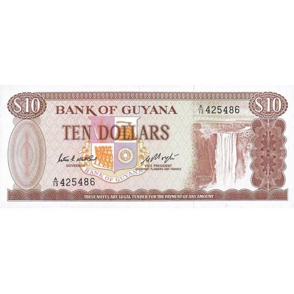 1989 - Guyana P23c billete de 10 Dólares f.6