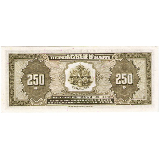 1988 - Haiti P251 250 Gourdes banknote