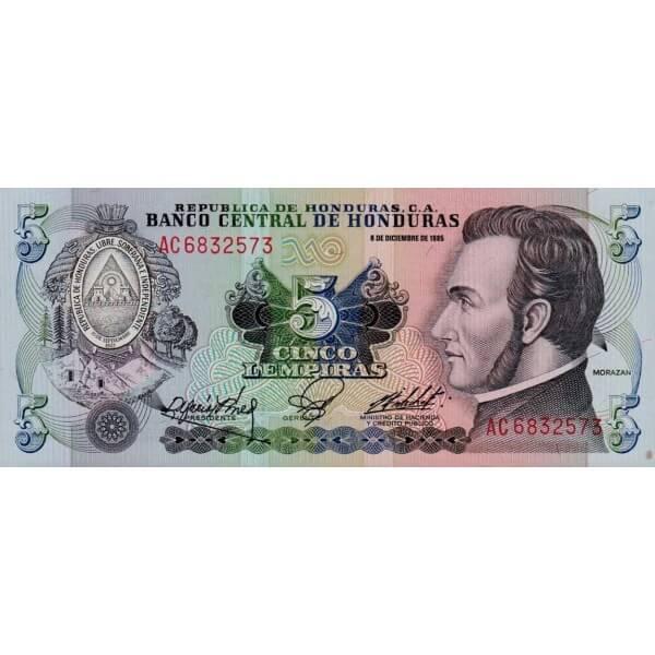 1985 - Honduras P63b billete de 5 Lenpiras