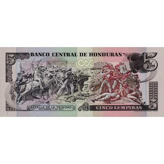 1985 - Honduras P63b 5 Lenpiras banknote