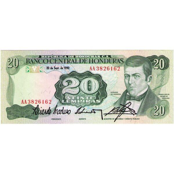 1990 - Honduras P65c billete de 20 Lenpiras