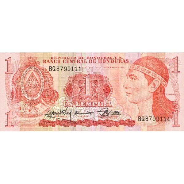 1984 - Honduras P68b 1 Lempira banknote