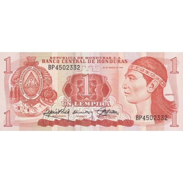 1989 - Honduras P68c billete de 1 Lempira