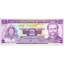 1993 - Honduras P72b 2 Lempiras banknote
