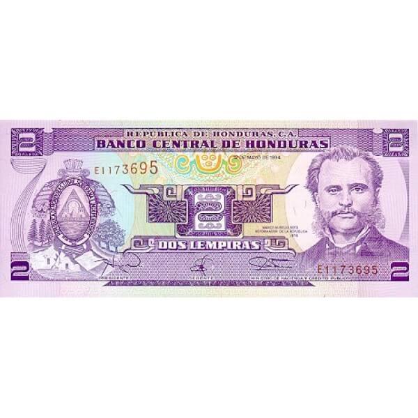 1994 - Honduras P72c 2 Lempiras banknote