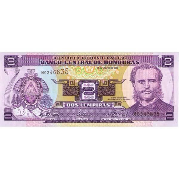 2003 - Honduras P80Ad billete de 2 Lempiras