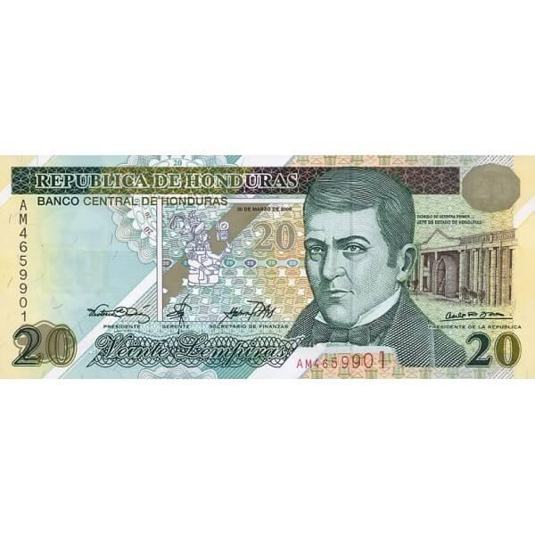 2000 - Honduras P83 billete de 20 Lempiras