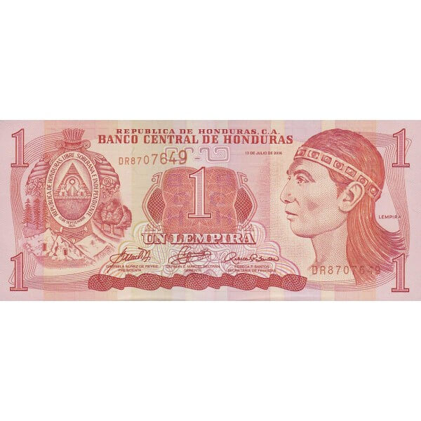 2006 - Honduras P84e billete de 1 Lempira