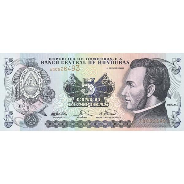 2003 - Honduras P85c billete de 5 Lempiras