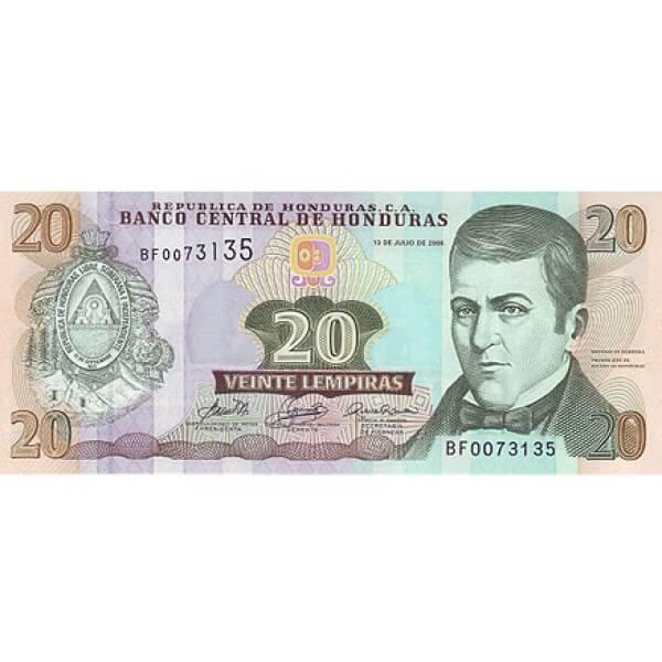 2006 - Honduras P93a 20 Lempiras banknote