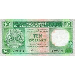 1988 - Hong Kong  Pic 191b   10 Dollars banknote