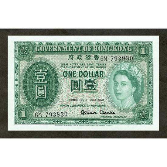 1959 - Hong Kong  Pic 324Ab   1 Dollar banknote