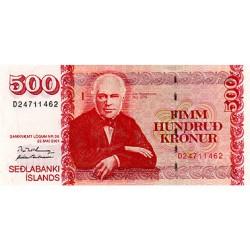 2001 - Iceland PIC 58 500 Kronus banknote
