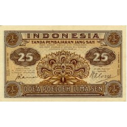 1947 - Indonesia PIC  32     25 Sen  banknote