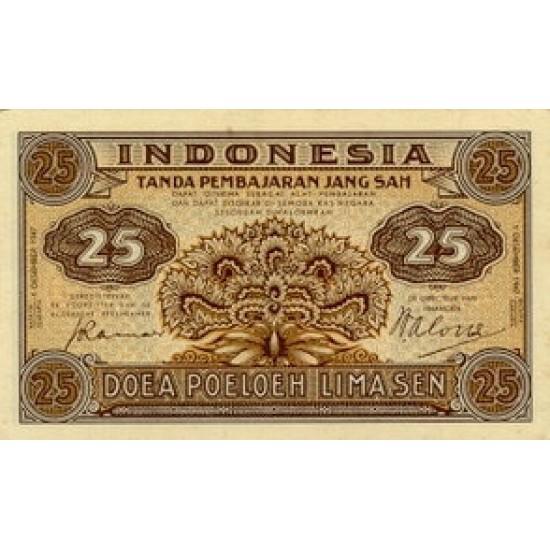 1947 - Indonesia PIC  32     25 Sen  banknote