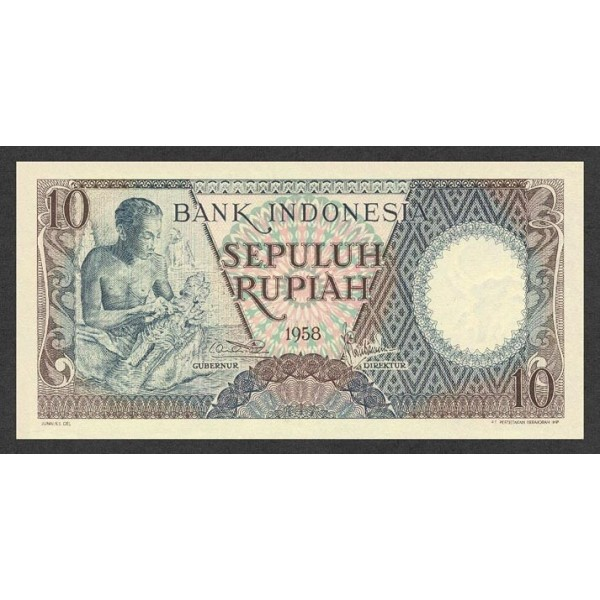 1958 - Indonesia pic 56 billete de 10 Rupias