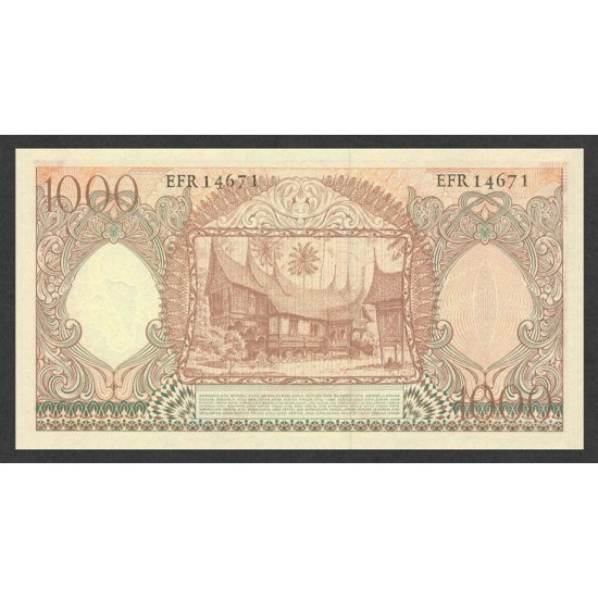 1958 - Indonesia PIC  61     1000 Rupees banknote